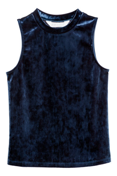 Velvet top - Dark blue - Kids | H&M CN