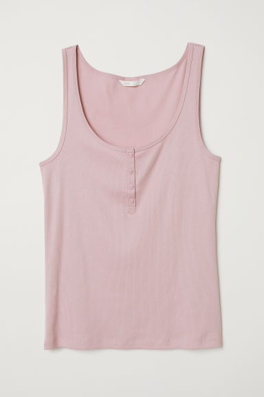 Ribbed vest top with buttons - Old rose - Ladies | H&M