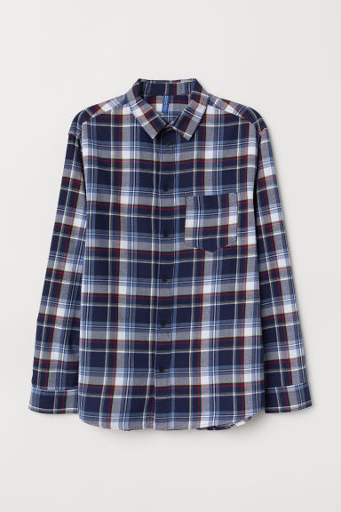Camicia in flanella a quadri - Blu scuro/quadri - UOMO | H&M IT