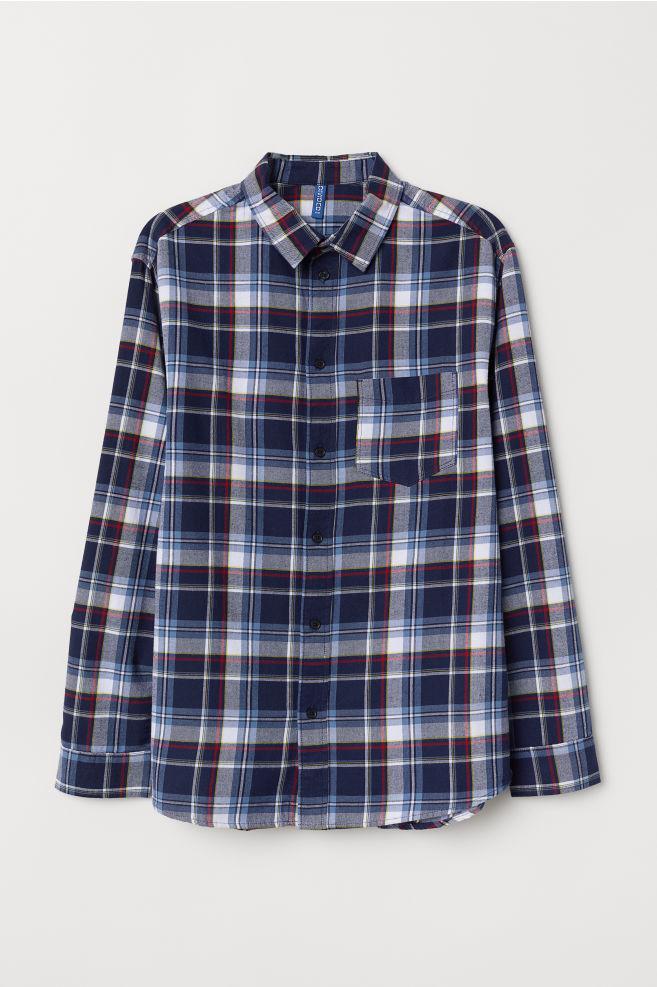 Plaid Cotton Flannel Shirt Dark Blue Checked Men H M Us