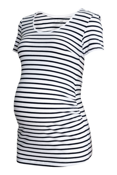 MAMA Cotton jersey top - White/Blue striped - Ladies | H&M