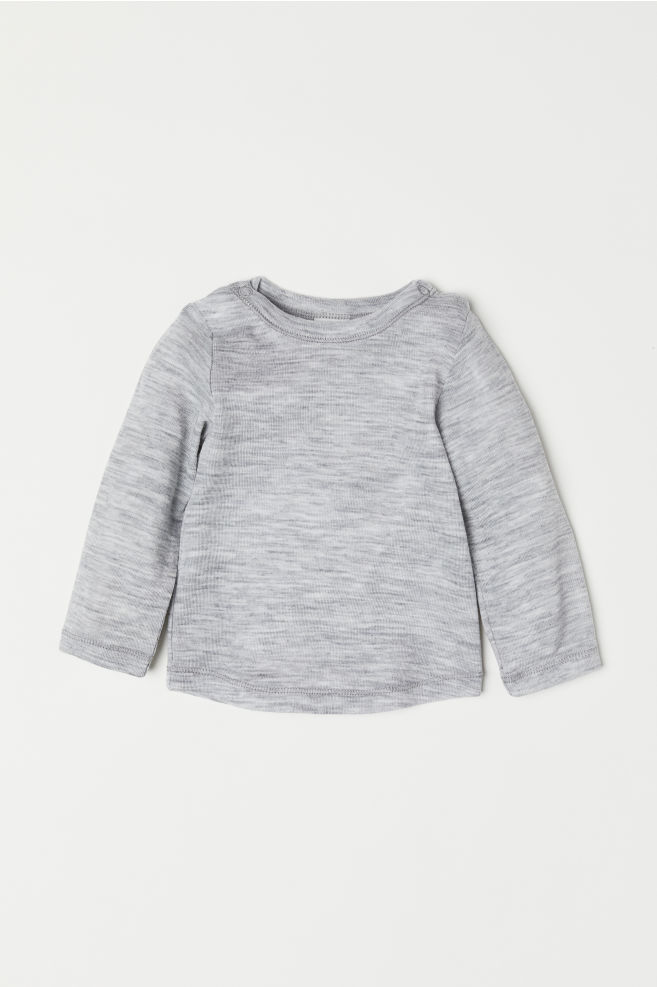Wool Jersey Top - Light gray melange -  7ade1a1fc