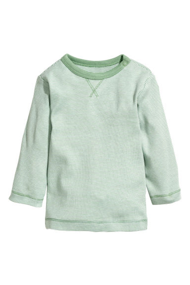 Jersey top - Green/White striped -  | H&M