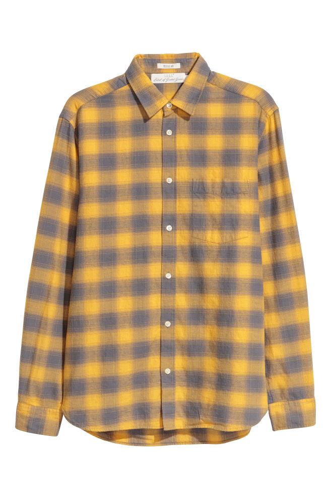 Geel Overhemd.Geruit Overhemd Regular Fit Geel Geruit Heren H M Nl