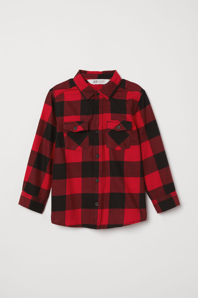 Flannel shirt - Red/Black - Kids | H&M CN