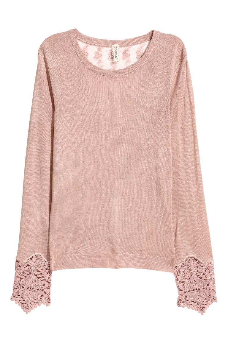 Jumper with lace details - Old rose -  | H&M