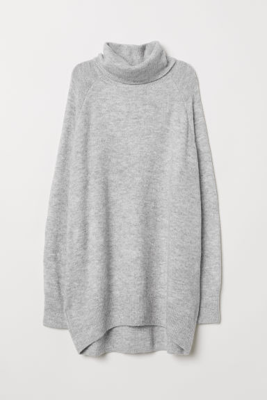 Knitted polo-neck jumper - Light grey marl - Ladies | H&M