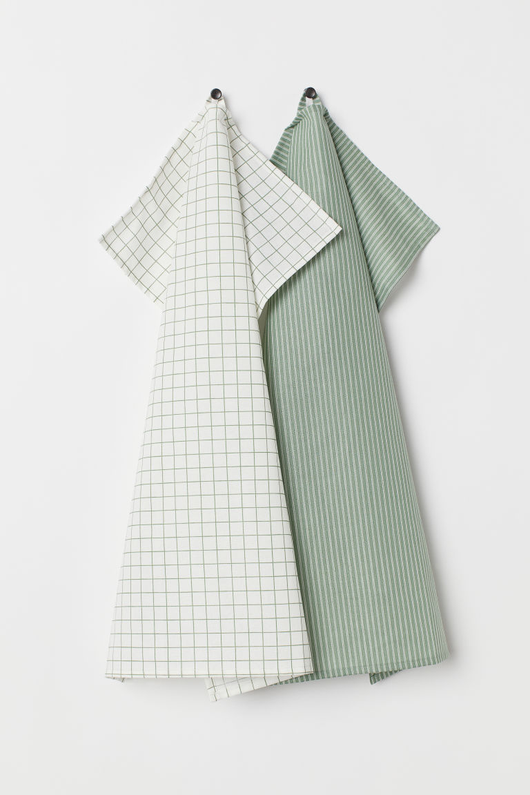 2-pack tea towels - Green - Home All | H&M CN