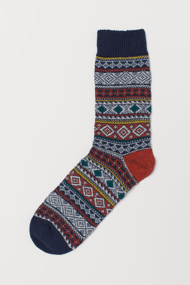 Knitted patterned socks - Rust brown/Patterned - Men | H&M