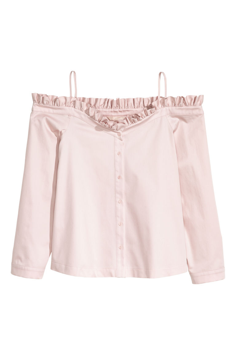 Off-the-shoulder blouse - Powder pink - Ladies | H&M