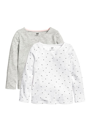 2-pack jersey tops - White/Spotted - Kids | H&M