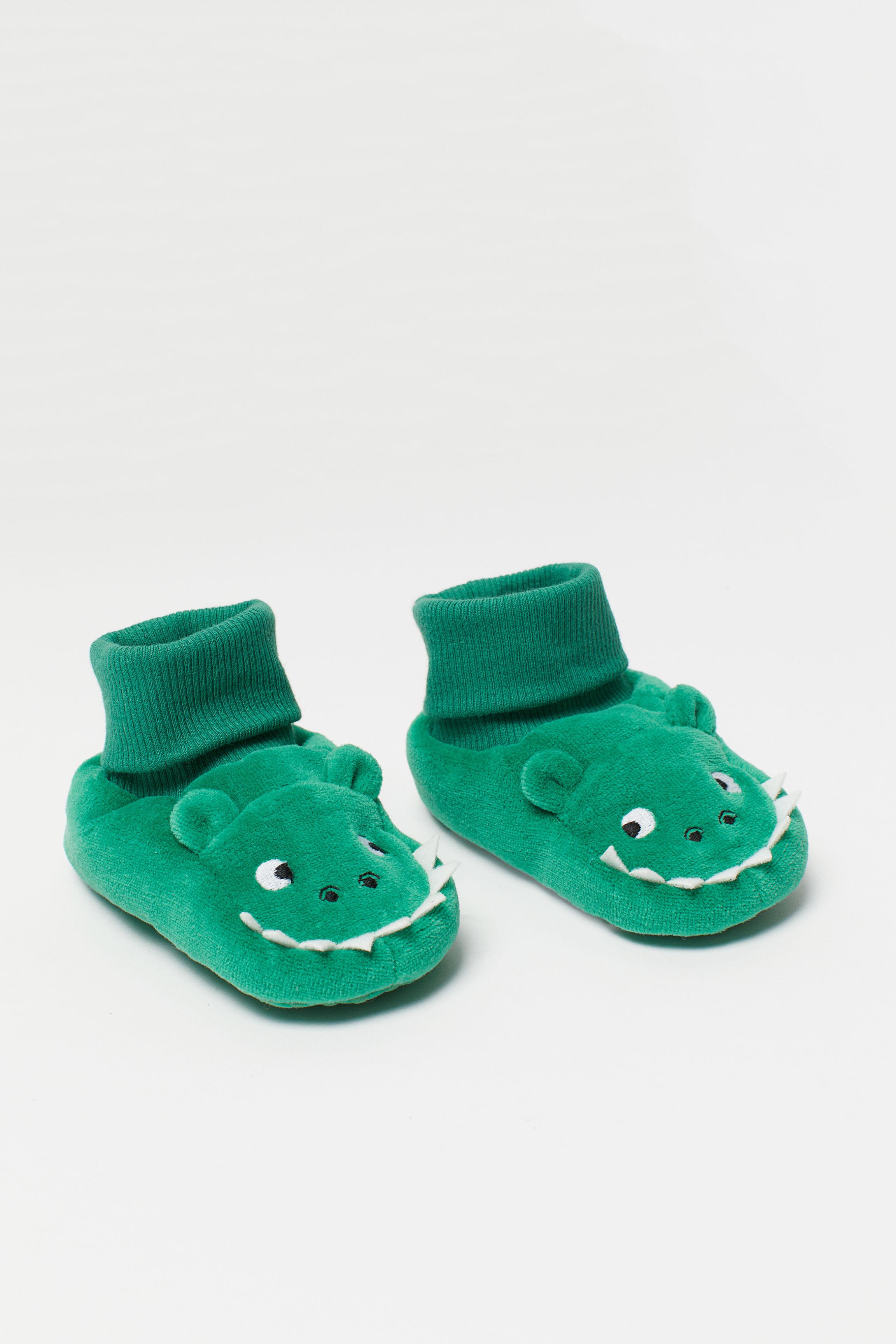 a8b6659e0aa5 Velour Slipper Socks - Green crocodile - Kids