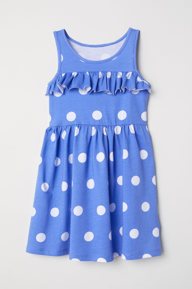Jersey dress with a frill - Blue/Spotted -  | H&M