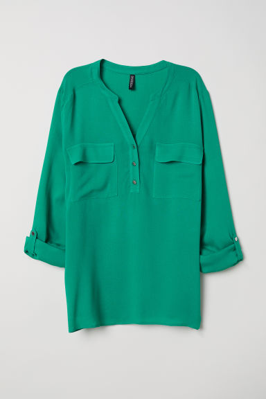 V-neck blouse - Emerald green -  | H&M