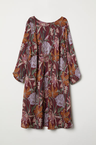MAMA Patterned dress - Burgundy/Floral - Ladies | H&M