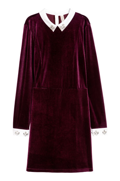Velour dress with sparkles - Burgundy - Ladies | H&M