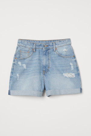 Mom Fit Denim ShortsModel