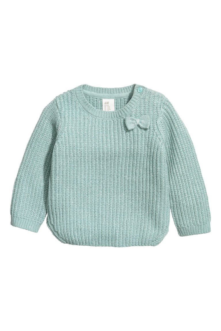 Ribbed jumper - Mint green/Silver-coloured - Kids | H&M CN