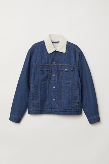 Pile-lined denim jacket - Dark blue - Men | H&M CN