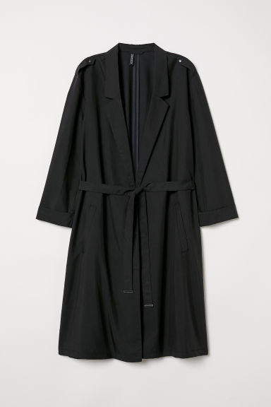 Modal-blend trenchcoat - Black - Ladies | H&M