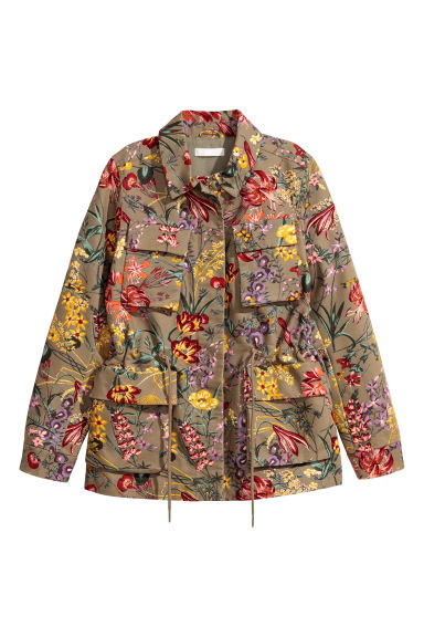 Patterned cargo jacket - Khaki green/Floral -  | H&M