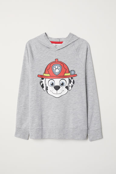 Printed hooded top - Light grey marl/Paw Patrol - Kids | H&M
