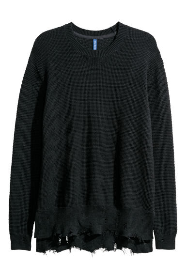 Textured-knit jumper - Black -  | H&M CN