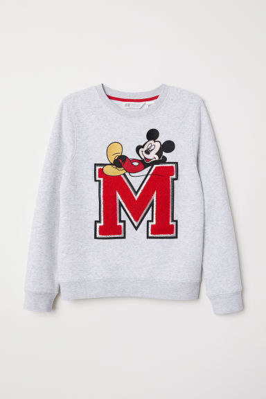Sweatshirt with a motif - Light grey marl/Mickey Mouse - Kids | H&M CN