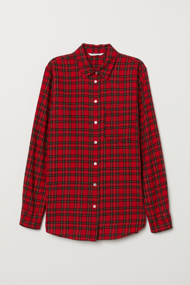 Checked shirt - Red/Checked - Ladies | H&M