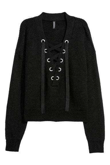 Knitted jumper with lacing - Black - Ladies | H&M GB