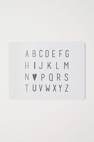 Set de table avec impression - Blanc/alphabet - Home All | H&M FR