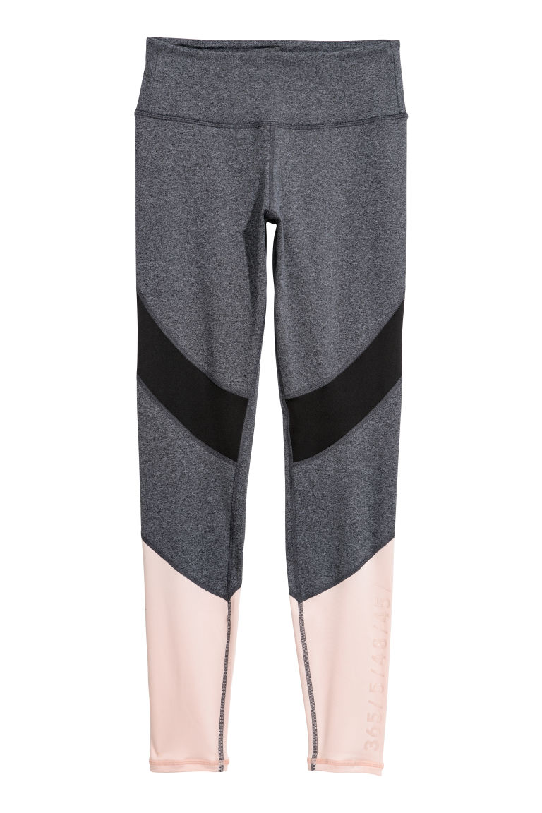Sports tights - Black marl/Powder pink - Ladies | H&M