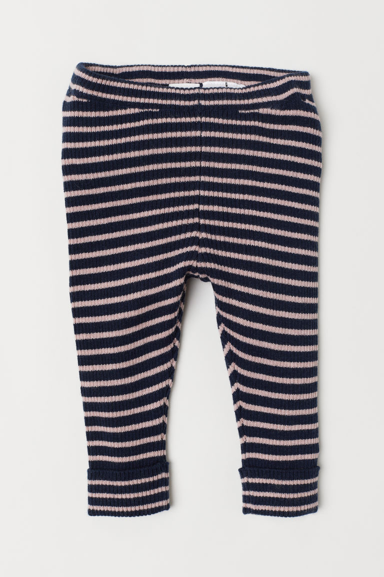 Fine-knit leggings - Dark blue/Striped - Kids | H&M CN