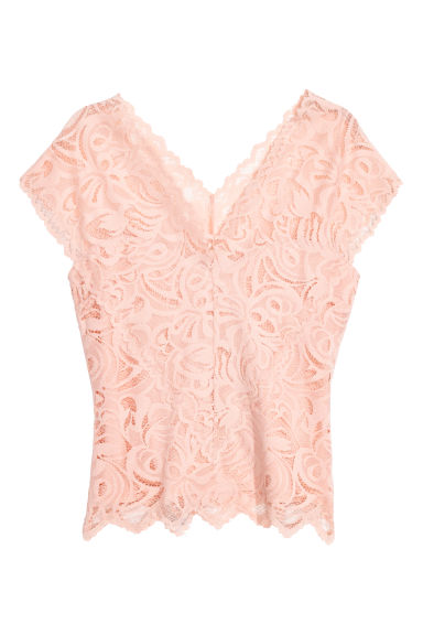 Lace top - Powder pink -  | H&M