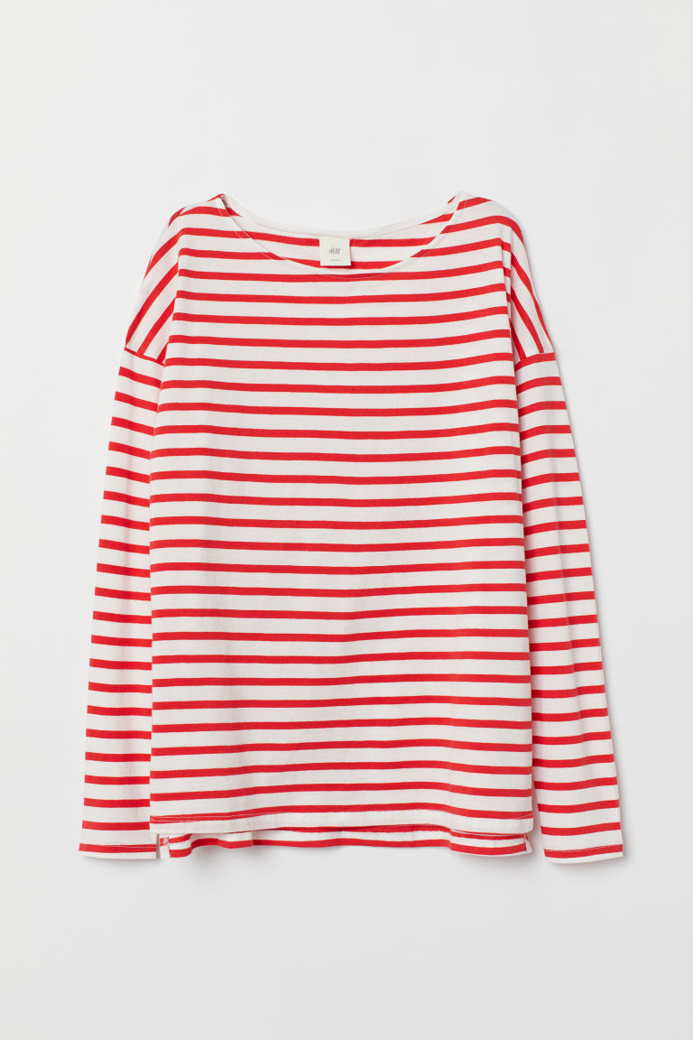 Striped top - White/Red striped - Ladies | H&M