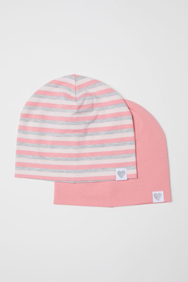 2-pack jersey hats - Light pink/Striped - Kids | H&M CN