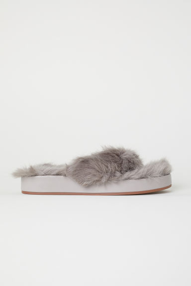 Faux fur slides - Grey - Ladies | H&M CN