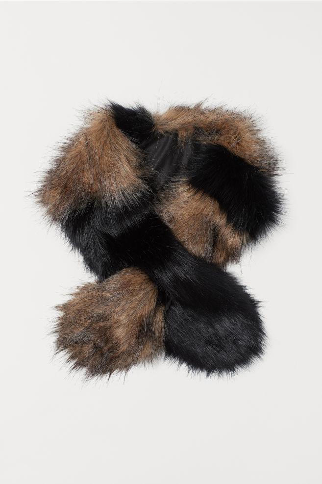 Šála z umělé kožešiny - Černá béžová - ŽENY  345f21a11b