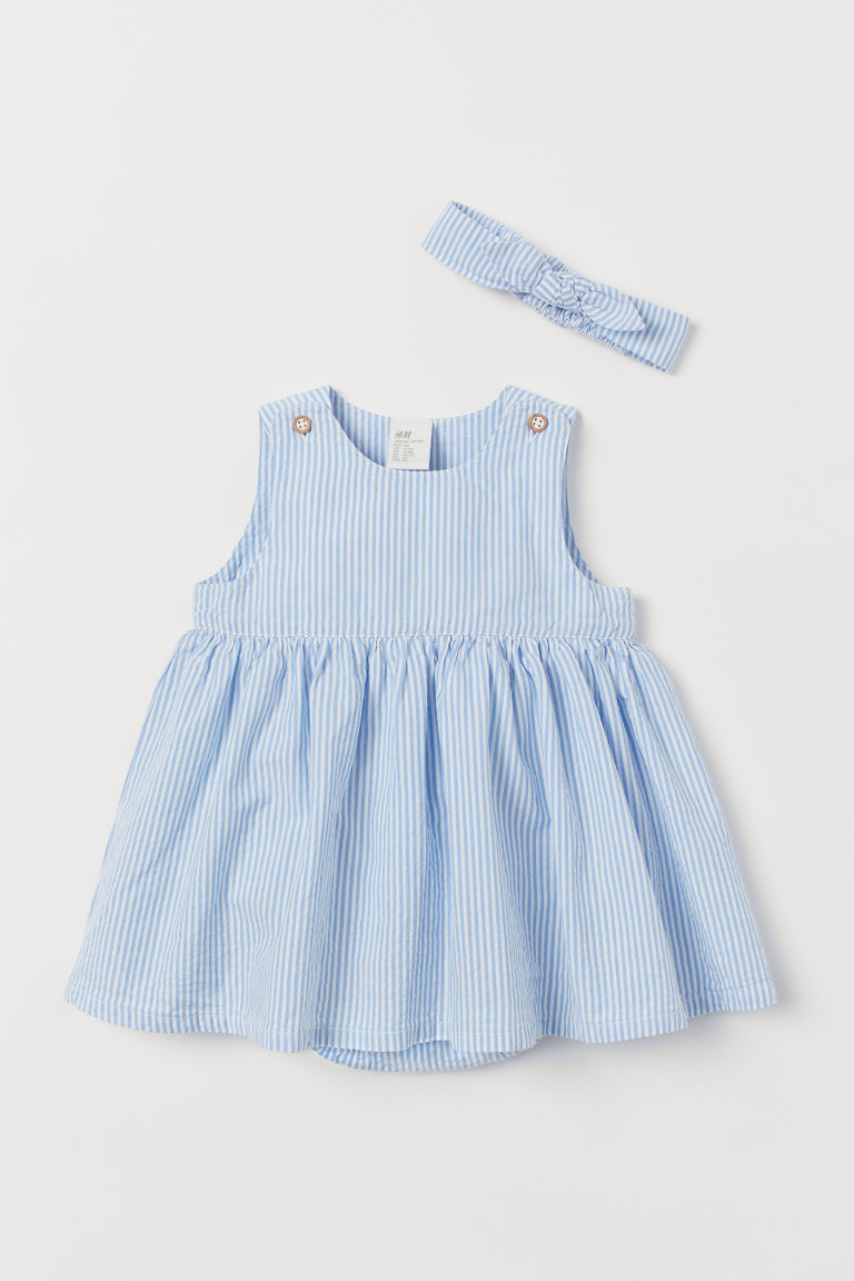 Dress and hairband - Light blue/White striped - Kids | H&M