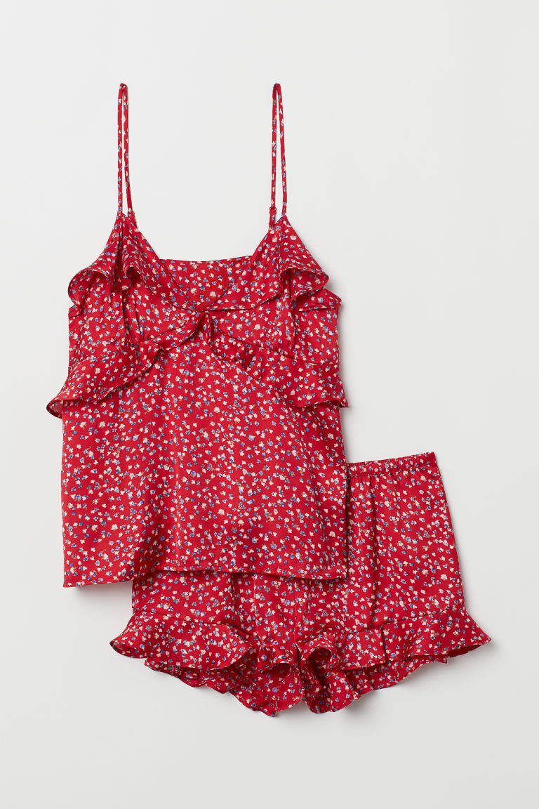 Pajama Camisole Top and Shorts - Red/floral - Ladies | H&M US