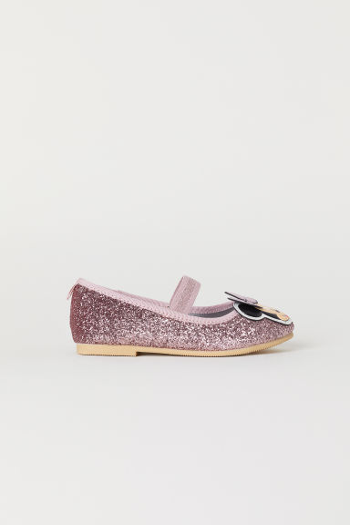 Glittery ballet pumps - Pink/Minnie Mouse - Kids | H&M GB