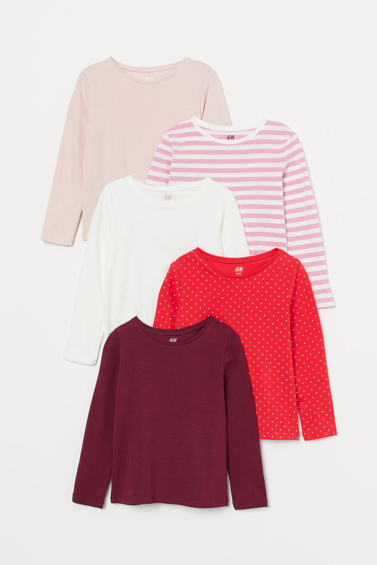 5-pack jersey tops - Dark red/White/Light pink - Kids | H&M