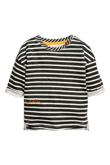 Long-sleeved top - Black/White striped -  | H&M CN