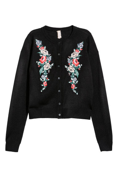Embroidered cardigan - Black/Flowers - Ladies | H&M