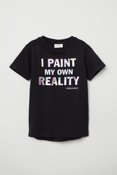 Text-print T-shirt - Black/Frida Kahlo - Kids | H&M