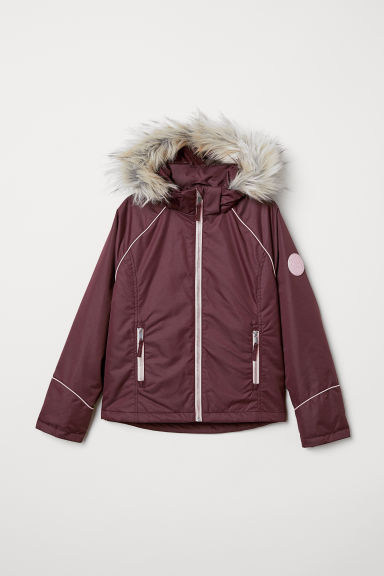 Padded hooded jacket - Dark purple - Kids | H&M CN