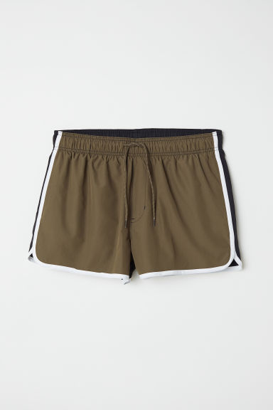 Short swim shorts - Dark khaki green/Black - Men | H&M