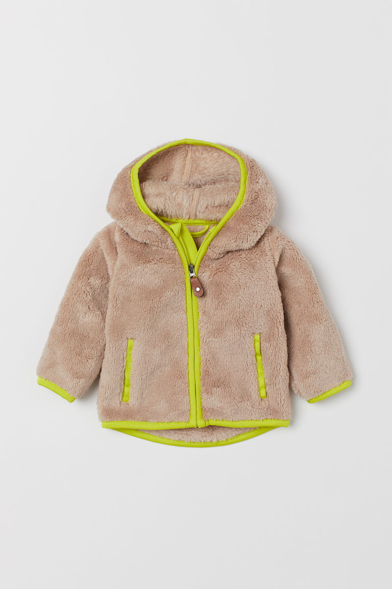 Pile hooded jacket - Beige/Neon yellow - Kids | H&M CN