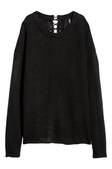 Knitted jumper with lacing - Black - Ladies | H&M