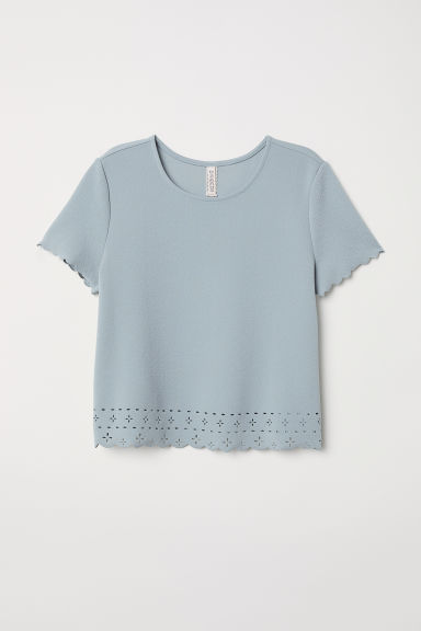 Top con bordo smerlato - Verde nebbia -  | H&M IT